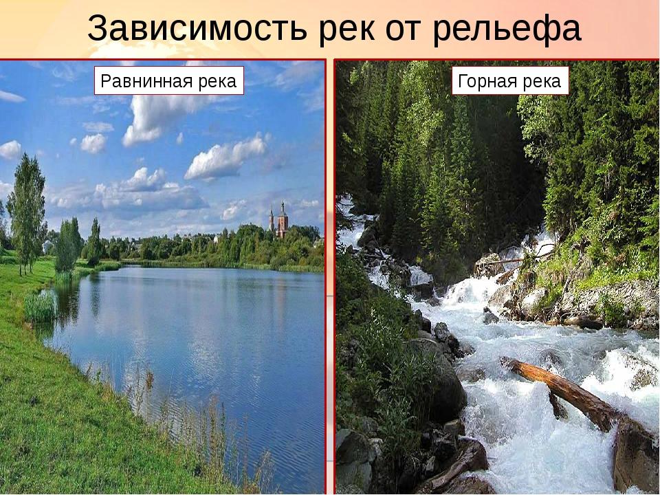 Зависимость рек от рельефа Равнинная река Горная река Горная река