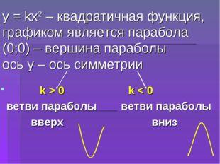 у = kх2 – квадратичная функция, графиком является парабола (0;0) – вершина па