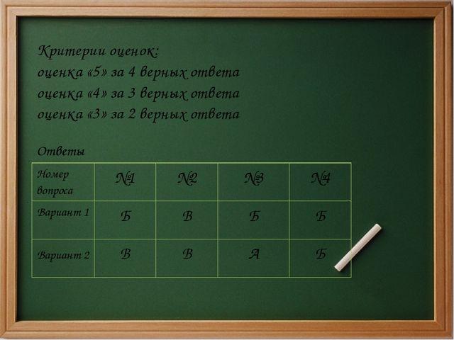 Критерии оценок: оценка «5» за 4 верных ответа оценка «4» за 3 верных ответа...