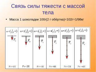 Связь силы тяжести с массой тела Масса 1 шоколадки 100г(2 г обёртка)=102г=1/9