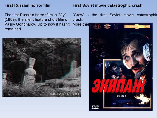 "First Soviet movie catastrophic crash ""Crew"" - the first Soviet movie catastr..."