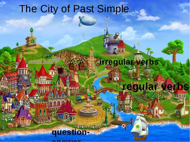 The City of Past Simple question-answer regular verbs irregular verbs REST home