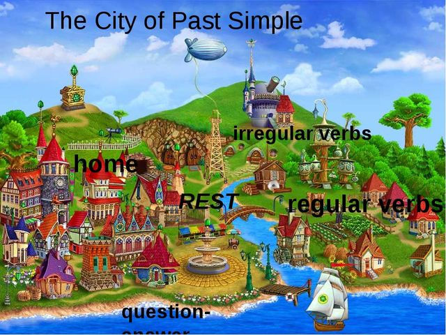 The City of Past Simple question-answer regular verbs irregular verbs REST ho...