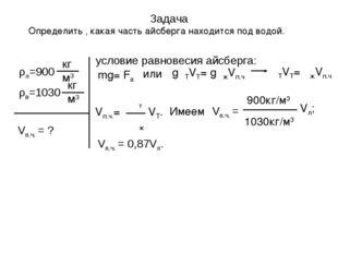 Задача Определить , какая часть айсберга находится под водой. Vп.ч. = ? услов