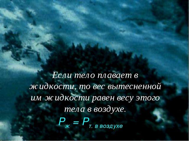 Если тело плавает в жидкости, то вес вытесненной им жидкости равен весу этого...