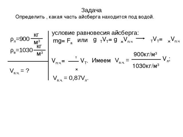 Задача Определить , какая часть айсберга находится под водой. Vп.ч. = ? услов...