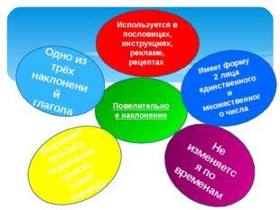 Повелительное наклонение Используется в пословицах, инструкциях, рекламе, рец
