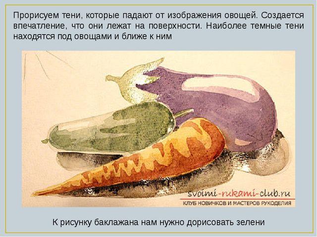 Прорисуем тени, которые падают от изображения овощей. Создается впечатление,...