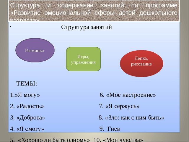 Структура и содержание занятий по программе «Развитие эмоциональной сферы дет...