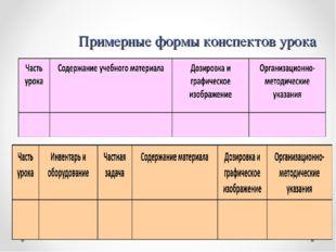 Примерные формы конспектов урока Форма 2 и 3