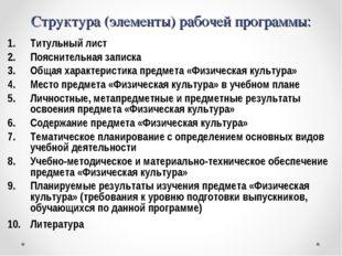 Структура (элементы) рабочей программы: Титульный лист Пояснительная записка