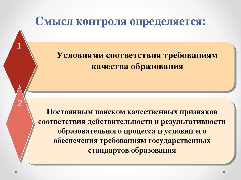 Смысл контроля определяется: