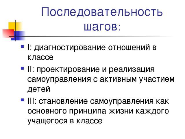 Последовательность шагов: I: диагностирование отношений в классе II: проектир...