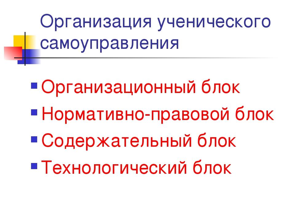 Организация ученического самоуправления Организационный блок Нормативно-право...