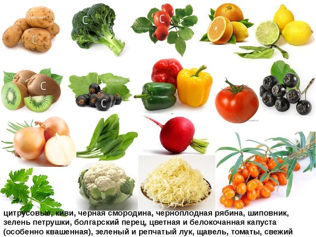 цитрусовые, киви, черная смородина, черноплодная рябина, шиповник, зелень пет...