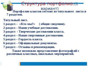 Структура портфолио:(1 вариант)  Портфолио классов состоит из титульного лис