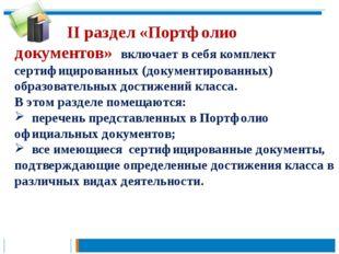 II раздел «Портфолио документов» включает в себя комплект сертифицированных