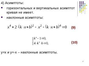 * 4) Асимптоты: горизонтальных и вертикальных асимптот кривая не имеет. накло