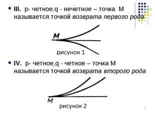 * III. p- четное,q - нечетное – точка M называется точкой возврата первого ро