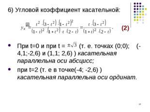 * 6) Угловой коэффициент касательной: (2) При t=0 и при t = (т. е. точках (0;