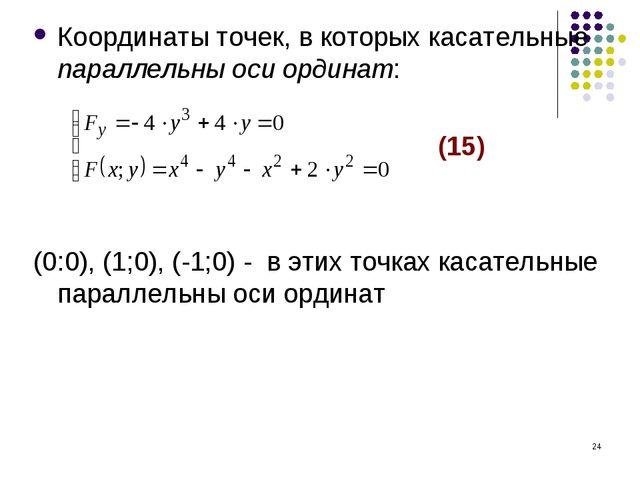 * Координаты точек, в которых касательные параллельны оси ординат: (15) (0:0)...