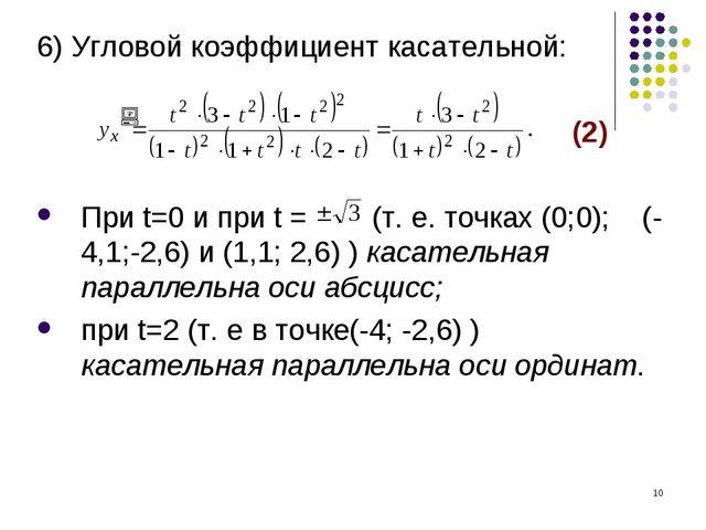 * 6) Угловой коэффициент касательной: (2) При t=0 и при t = (т. е. точках (0;...