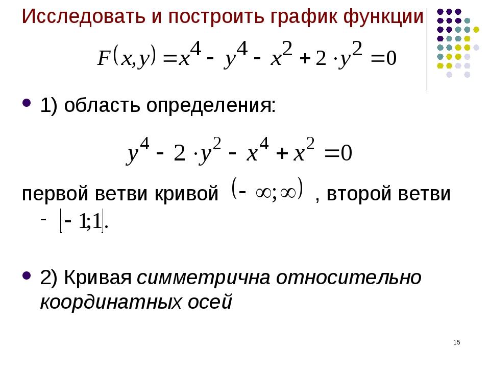 * Исследовать и построить график функции 1) область определения: первой ветви...