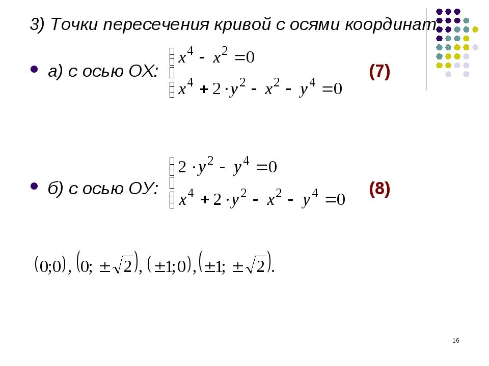 * 3) Точки пересечения кривой с осями координат: а) с осью ОХ: (7) б) с осью...