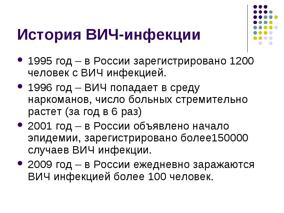 История ВИЧ-инфекции 1995 год – в России зарегистрировано 1200 человек с ВИЧ...