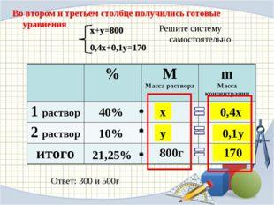 Во втором и третьем столбце получились готовые уравнения 40% 10% 21,25% 800г