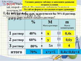 №7.54) Имеются два раствора соли в воде, первый – 40%-ый, второй – 60%-й. Их