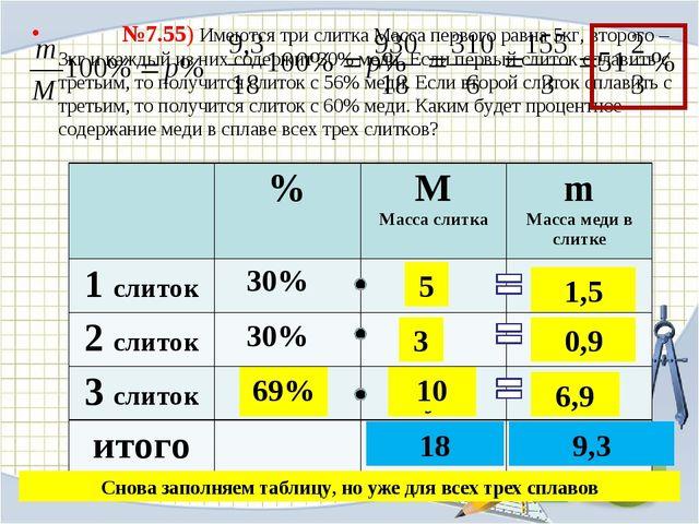№7.55) Имеются три слитка Масса первого равна 5кг, второго – 3кг и каждый из...