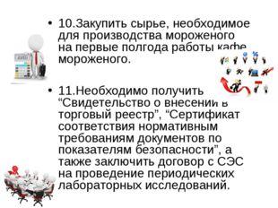 10.Закупить сырье, необходимое для производства мороженого на первые полгода