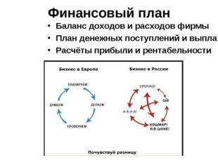Финансовый план Баланс доходов и расходов фирмы План денежных поступлений и в