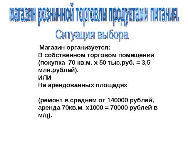 Магазин организуется: В собственном торговом помещении (покупка 70 кв.м. х 5...