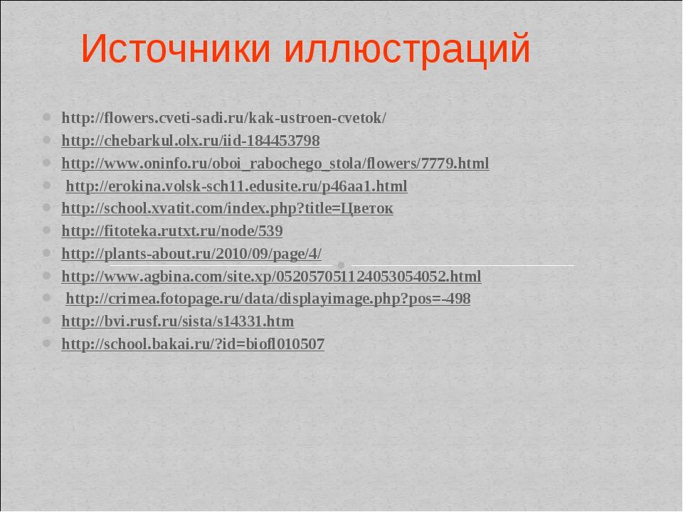 Источники иллюстраций http://flowers.cveti-sadi.ru/kak-ustroen-cvetok/ http:/...