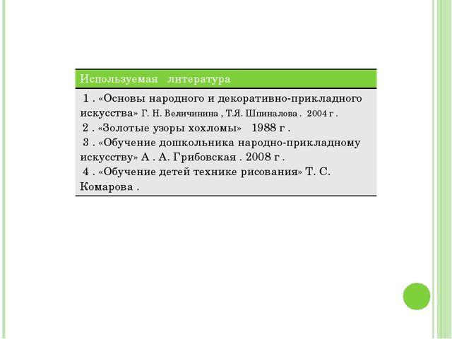 Используемая литература 1 . «Основы народного и декоративно-прикладногоискусс...