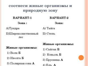 соотнеси живые организмы и природную зону ВАРИАНТ-1 Зона : А)Тундра Б)Широкол