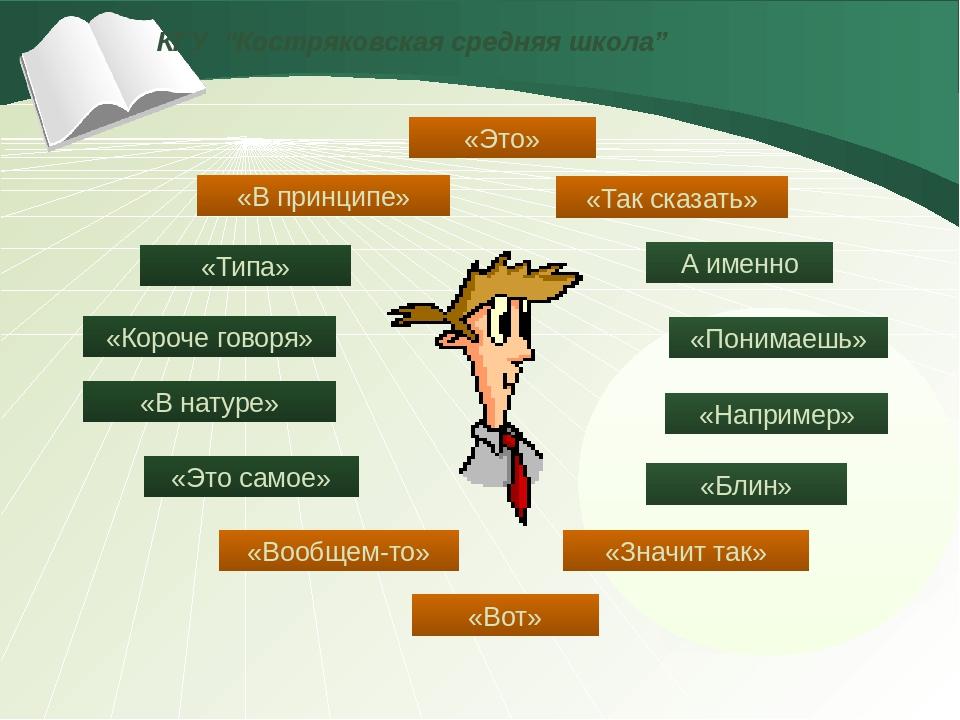 """КГУ """"Костряковская средняя школа"""" «В натуре» «Короче говоря» «Типа» «В принц..."""