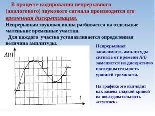 В процессе кодирования непрерывного (аналогового) звукового сигнала производ