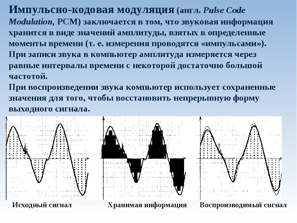 Импульсно-кодовая модуляция (англ. Pulse Code Modulation, PCM) заключается в...