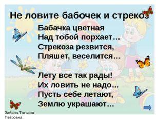 Не ловите бабочек и стрекоз Бабачка цветная Над тобой порхает… Стрекоза резв