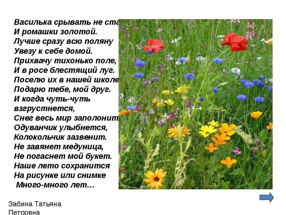 Василька срывать не стану И ромашки золотой. Лучше сразу всю поляну Увезу к...
