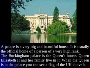 A palace is a very big and beautiful house. It is usually the official home o