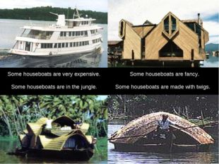 Some houseboats are fancy. Some houseboats are in the jungle. Some houseboats