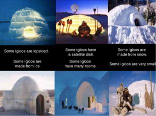 Some igloos have many rooms. Some igloos are very small. Some igloos are