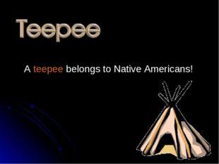 A teepee belongs to Native Americans!