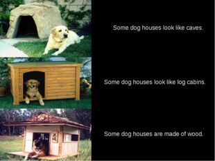 Some dog houses look like log cabins. Some dog houses are made of wood. Some
