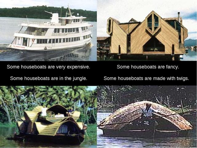 Some houseboats are fancy. Some houseboats are in the jungle. Some houseboats...