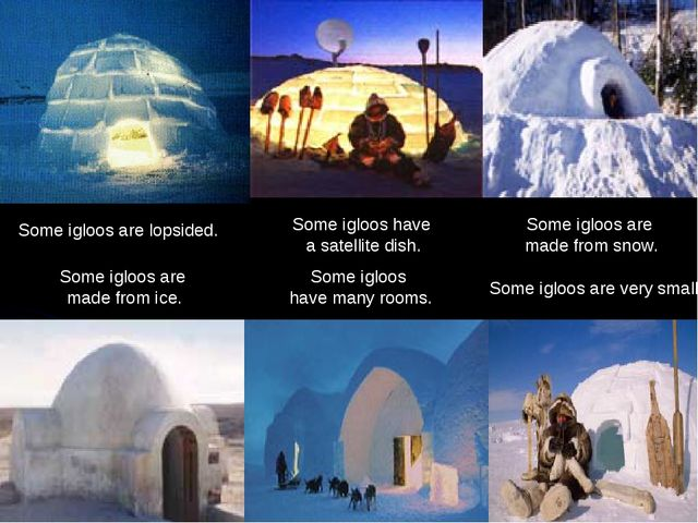 Some igloos have many rooms. Some igloos are very small. Some igloos are...